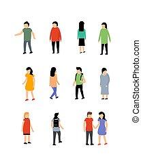 femme, personne, gens, vecteur, illustration., homme, caractère, isométrique, icône