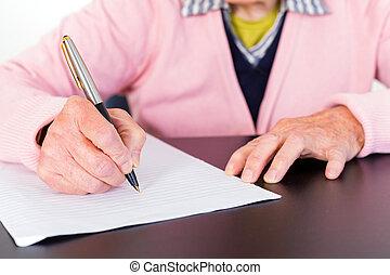 femme, personnes agées, écriture