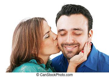 femme, petit ami, elle, isolé, baisers, blanc, agréable