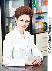 femme, pharmacie, chimiste, pharmacie