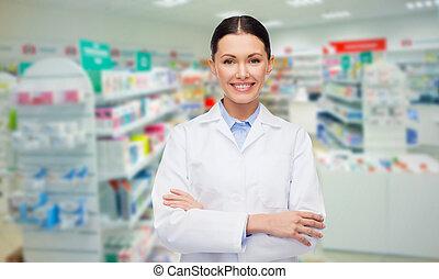 femme, pharmacien, jeune, pharmacie, pharmacie, ou