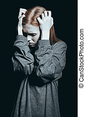 femme, phobie, malheureux