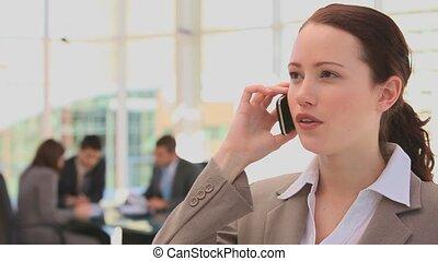 femme, phone, business, parler