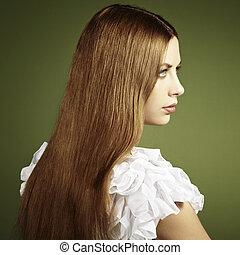 femme, photo, jeune, cheveux façonnent, rouges