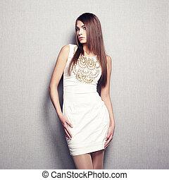 femme, photo, jeune, mode, beige, robe, sensuelles
