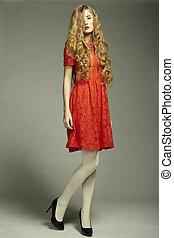 femme, photo, magnifique, jeune, mode, robe, rouges