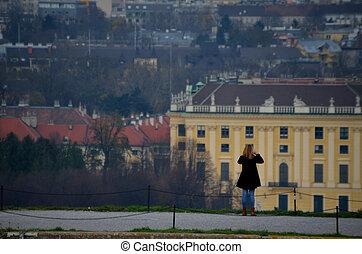 femme, photographié, château