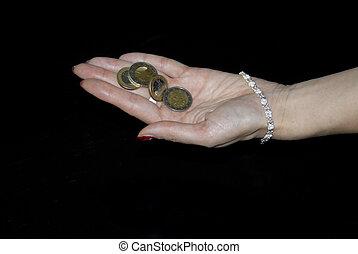 femme, pièces, jeune, possession main, euro