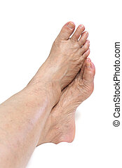 femme, pied, mûrir