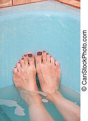 femme, pieds