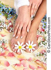 femme, pieds, masage