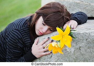 femme, pierre tombale, mensonge, triste