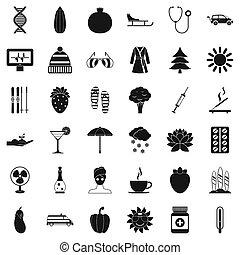 femme, pilule, icônes, ensemble, simple, style