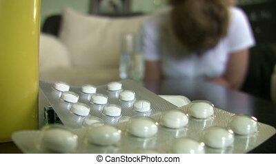 femme, pilules, douloureux