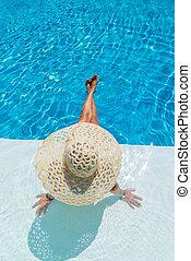 femme, piscine, délassant, natation