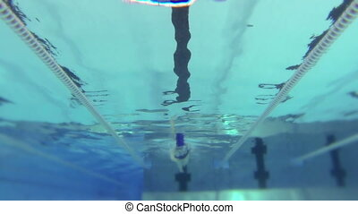 femme, -, piscine, flotte, hd, natation