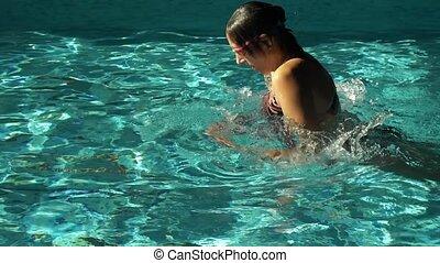 femme, piscine, natation