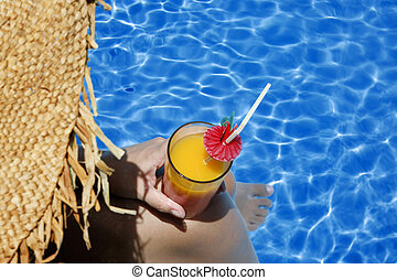 femme, piscine