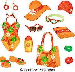 femme, plage, accessoires