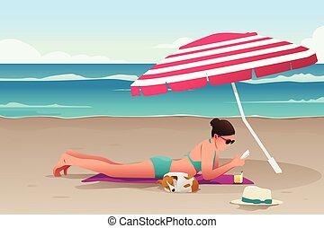 femme, plage, bains de soleil