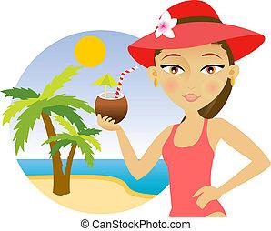 femme, plage, cocktail