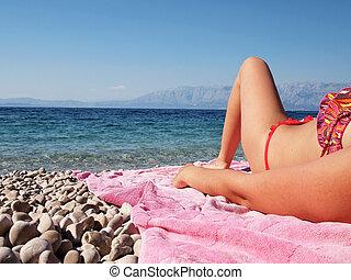 femme, plage, délassant