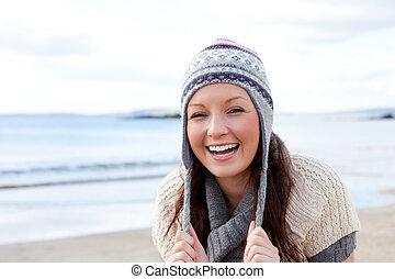 femme, plage, excité