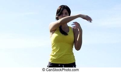 femme, plage, gimnastic