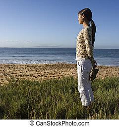 femme, plage.