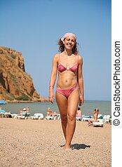 femme, plage, jeune