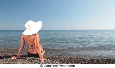 femme, plage, jeune, séance