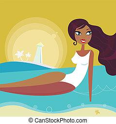 femme, plage, retro, soleil, été, mer, bronzage, -, coucher soleil