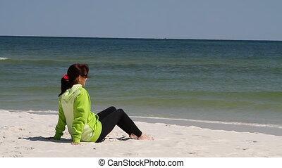 femme, plage, séance