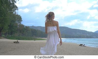 femme, plage