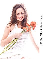 femme, plancher, séance, brunette, fleurs blanches, robe, rouges