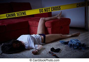 femme, plancher, scène, crime, imitation., inanimé, mensonge
