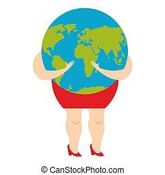 femme, planet., illustration, vecteur, étreindre, femme, la terre, mondiale, hands.