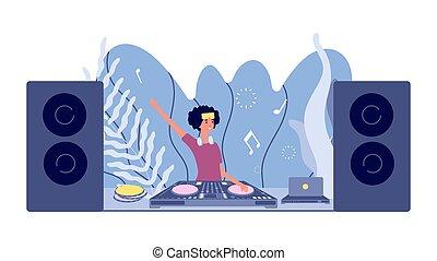 femme, plat, stéréo, nightclub., mélangeur, set., disco, vecteur, platine, dj, jeux, son, événement, musique, headphones., concept, girl, fête