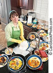 femme, plats lavage