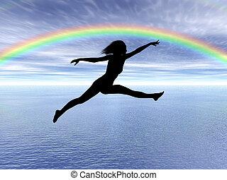 femme, pluie, sauter