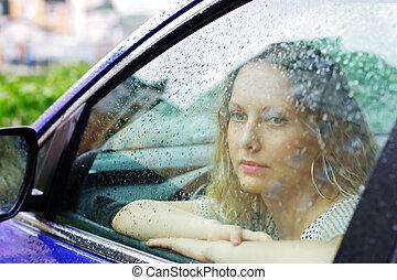 femme, pluie, triste