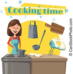 femme, poêle, cuisine, femme foyer, vecteur, cuisine