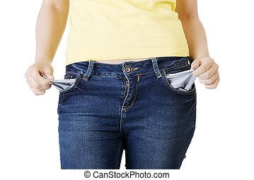 femme, poches vides