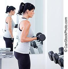 femme, poids, sport, équipement, gymnase, formation