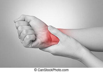 femme, poignet, douloureux