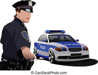 femme police, debout, près, police