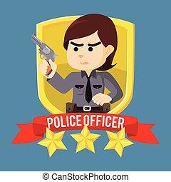 femme police, emblème, officier