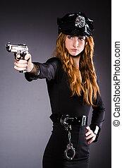 femme, police, fusil, bureau