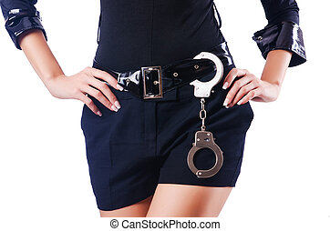 femme, police, jeune, séduisant