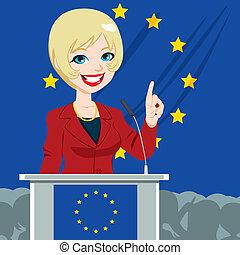 femme, politicien, candidat, européen
